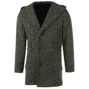 Patch Pocket Heathered Hooded Coat