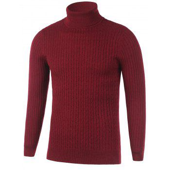 Ribbed Turtleneck Twist Knit Sweater