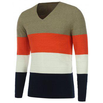 Color Matching V Neck Texture Knit Sweater