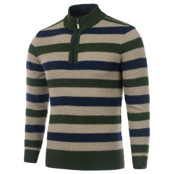 High Neck Striped Zip Front Sweater