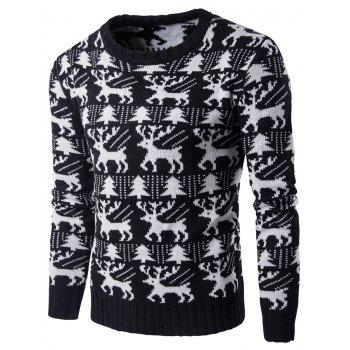 Crew Neck Tree Deer Knitted Christmas Sweater