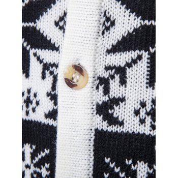 Snowflake Deer V Neck Christmas Cardigan - WHITE L