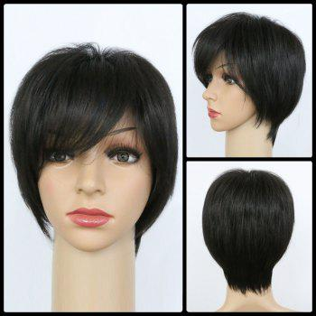 Handsome Women's  Black Short Fluffy Side Bang Synthetic Wig
