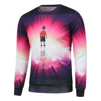 Crew Neck Kid Print Galaxy Sweatshirt