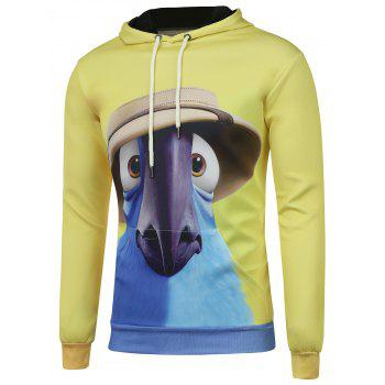 Kangaroo Pocket Cartoon Print Drawstring Hoodie