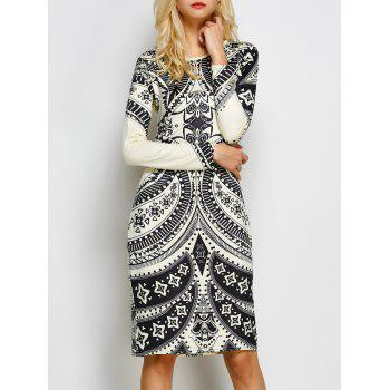 Tribal Print Open Back Sheath Dress