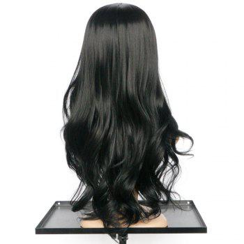 Elegant Women's  Black Long Middle Part Wavy Wig Synthetic Wig - BLACK