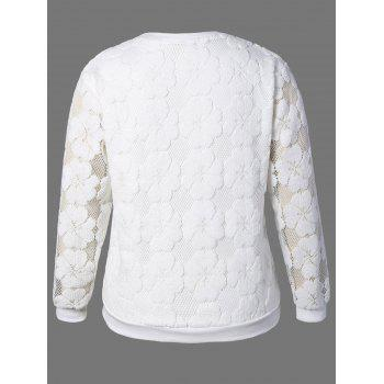 Plus Size Flower Embroidered Lace Sweatshirt - WHITE WHITE