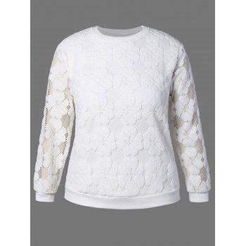 Plus Size Flower Embroidered Lace Sweatshirt