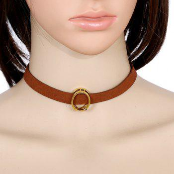 Faux Leather Velvet Round Choker - BROWN BROWN