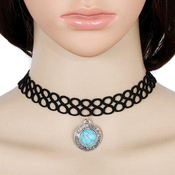 Faux Turquoise Infinite Velvet Choker Necklace
