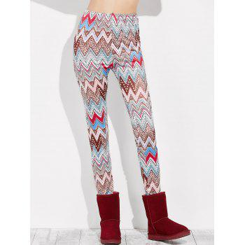 High Rise Leggings With Zigzag Print - MULTI S