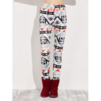 High Rise Leggings With Geometric Print - MULTI multicolor