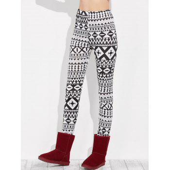 Skinny Geometric Leggings - WHITE/BLACK M