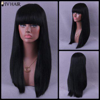 Neat Bang Long Natural Straight Siv Human Hair Wig - JET BLACK 01# JET BLACK