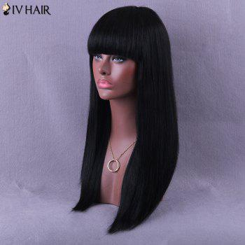 Neat Bang Long Natural Straight Siv Human Hair Wig -  JET BLACK