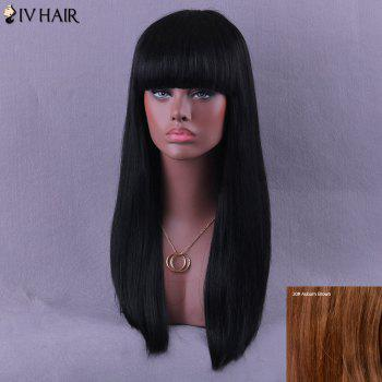 Neat Bang Long Natural Straight Siv Human Hair Wig - AUBURN BROWN #30 AUBURN BROWN