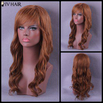 Oblique Bang Long Wavy Siv Human Hair Wig