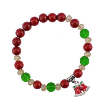 Christmas Bells Bows Charm Beaded Bracelet