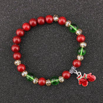 Christmas Gloves Bows Charm Beaded Bracelet