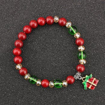 Christmas Gift Bows Charm Beaded Bracelet