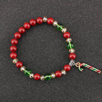 Christmas Candy Cane Charm Beads Bracelet