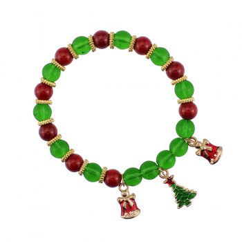 Christmas Bells Tree Charm Beads Bracelet