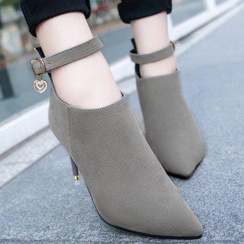 PU Leather Buckle Strap Rhinestones Ankle Boots - 39 39