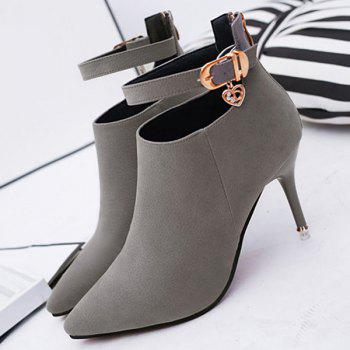 PU Leather Buckle Strap Rhinestones Ankle Boots - DEEP GRAY DEEP GRAY