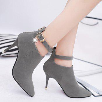 PU Leather Buckle Strap Rhinestones Ankle Boots - DEEP GRAY 37