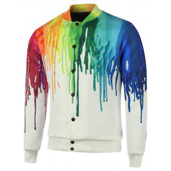 Stand Collar Splatter Paint Plus Size Cotton Jacket