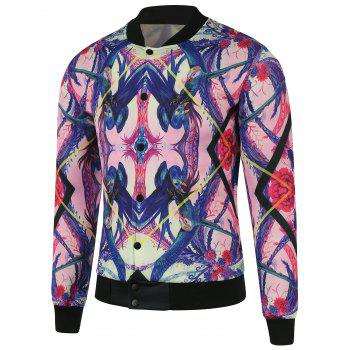 Stand Collar 3D Abstract Print Plus Size Cotton Jacket