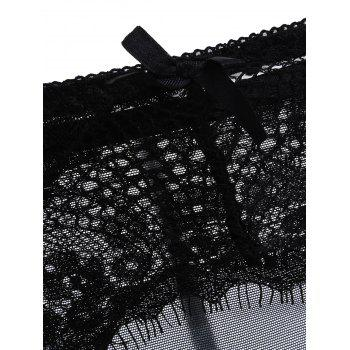 Sheer Eyelash Lace Garter with T-Back Twinset - BLACK BLACK