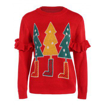 Flounced Christmas Tree Sweater