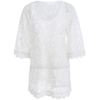 Bell Sleeves See Through Lace Dress