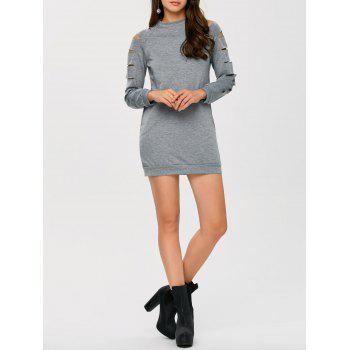 Long Sleeve Ripped Bodycon Dress