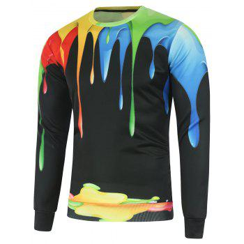 Crew Neck Colorful Paint Dripping Sweatshirt