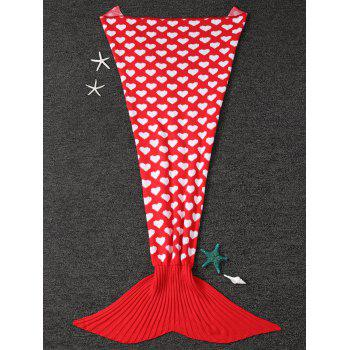 Heart Pattern Knit Mermaid Blanket Throw For Kids