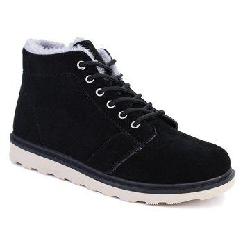 Lace Up Suede Flocking Ankle Boots - BLACK BLACK