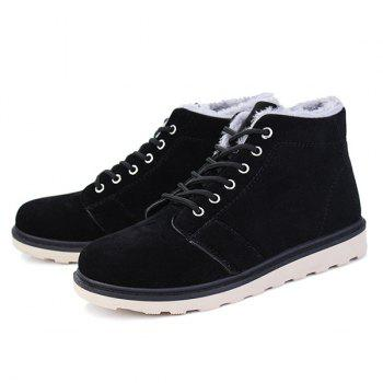 Lace Up Suede Flocking Ankle Boots - BLACK 44