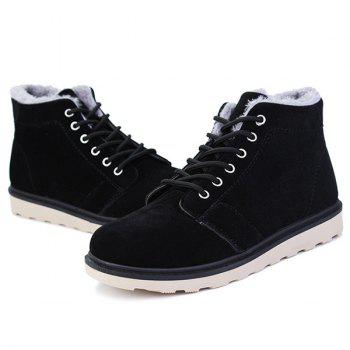 Lace Up Suede Flocking Ankle Boots - BLACK 40