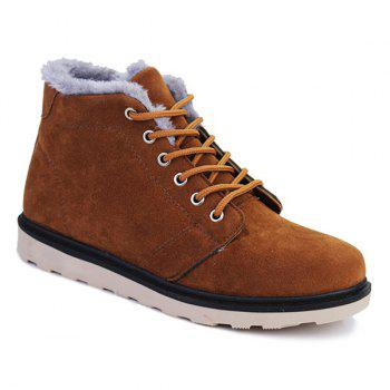 Lace Up Suede Flocking Ankle Boots - BROWN 41