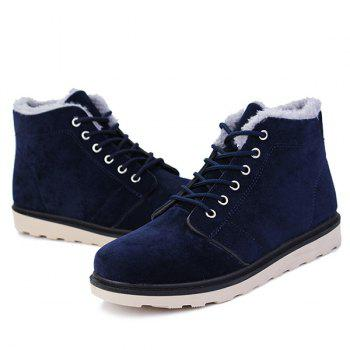 Lace Up Suede Flocking Ankle Boots - BLUE 43