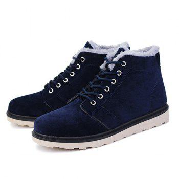 Lace Up Suede Flocking Ankle Boots - 43 43