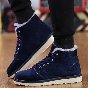 Lace Up Suede Flocking Ankle Boots - BLUE BLUE