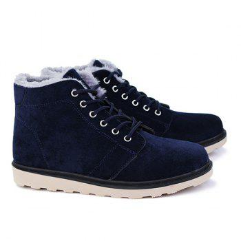 Lace Up Suede Flocking Ankle Boots - 40 40