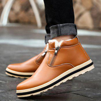 Flocking Doubel Zips PU Leather Ankle Boots - BROWN 43