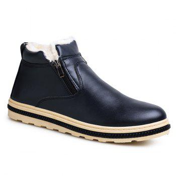 Flocking Doubel Zips PU Leather Ankle Boots