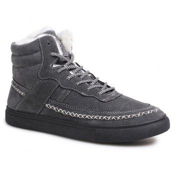 Stitching Suede Flocking High Top Shoes