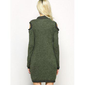 Long Sleeve Cold Shoulder High Neck Bodycon Dress - DEEP GREEN S